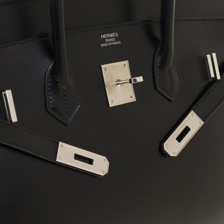 Limited Edition Black Calf Box Leather Birkin 35, Guilloché Palladium Hardware For Sale 1
