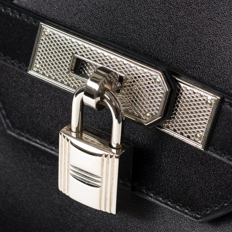 Limited Edition Black Calf Box Leather Birkin 35, Guilloché Palladium Hardware For Sale 2