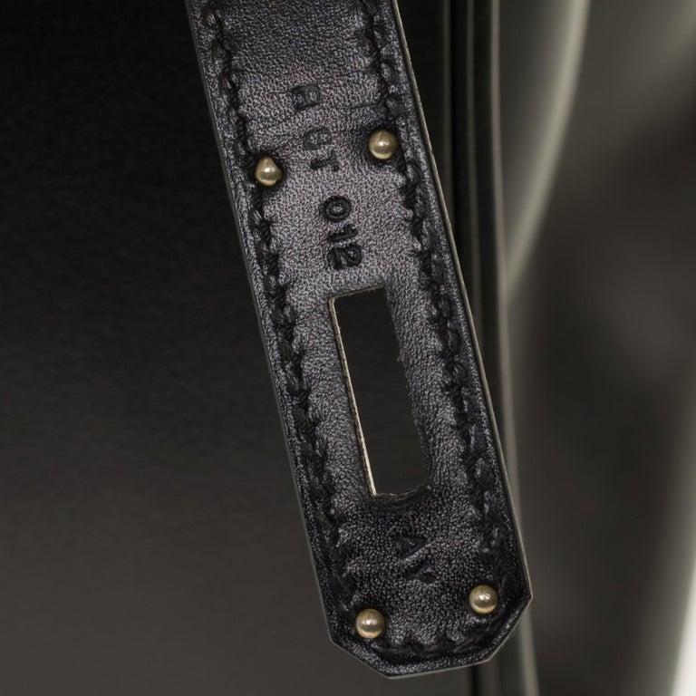 Limited Edition Black Calf Box Leather Birkin 35, Guilloché Palladium Hardware For Sale 3