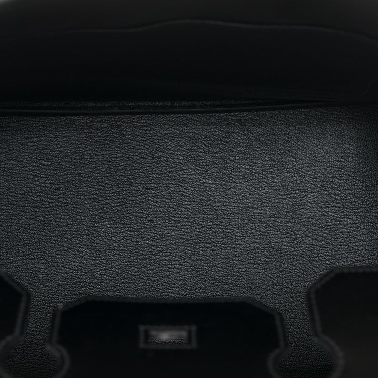 Limited Edition Black Calf Box Leather Birkin 35, Guilloché Palladium Hardware For Sale 4