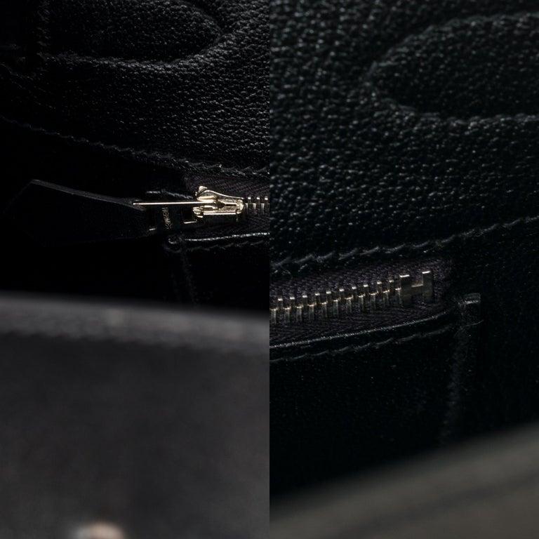 Limited Edition Black Calf Box Leather Birkin 35, Guilloché Palladium Hardware For Sale 5