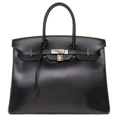 Limited Edition Black Calf Box Leather Birkin 35, Guilloché Palladium Hardware