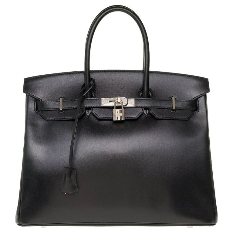 Limited Edition Black Calf Box Leather Birkin 35, Guilloché Palladium Hardware For Sale