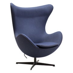 Limited Edition Blue Canvas Egg Chair by Arne Jacobsen