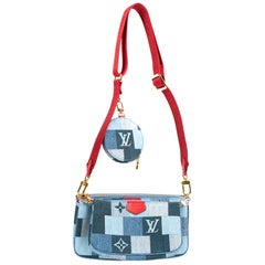 Limited Edition-Brand New Multi-Pochette Louis Vuitton in blue denim with strap