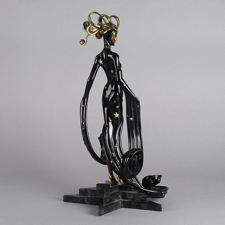 Russian Limited Edition Bronze Figure 'Bal Tabarin' by Erté For Sale