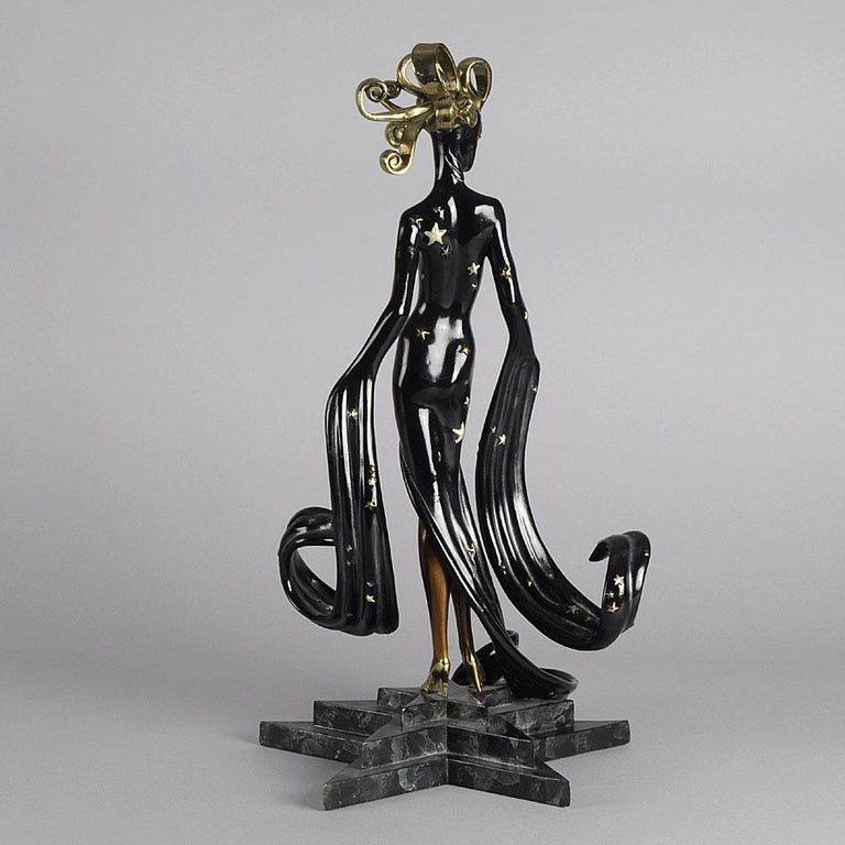 Cold-Painted Limited Edition Bronze Figure 'Bal Tabarin' by Erté For Sale