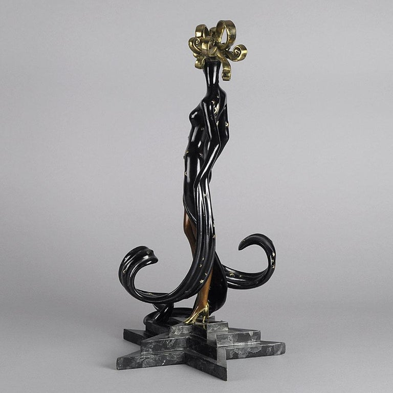 Limited Edition Bronze Figure 'Bal Tabarin' by Erté In Excellent Condition For Sale In London, GB