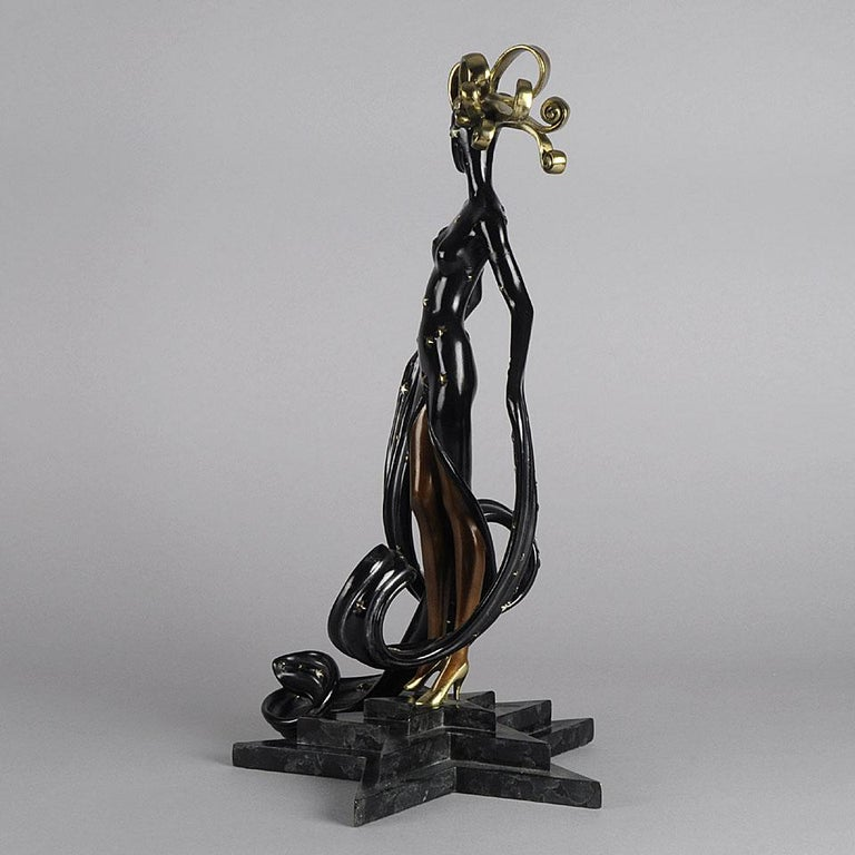 Late 20th Century Limited Edition Bronze Figure 'Bal Tabarin' by Erté For Sale