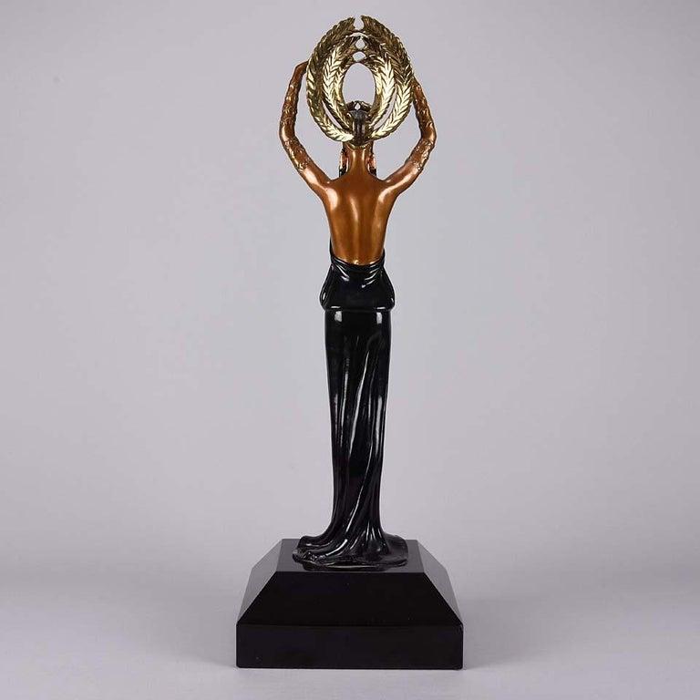 Cold-Painted Limited Edition Bronze Figure 'Triumph' by Erté For Sale