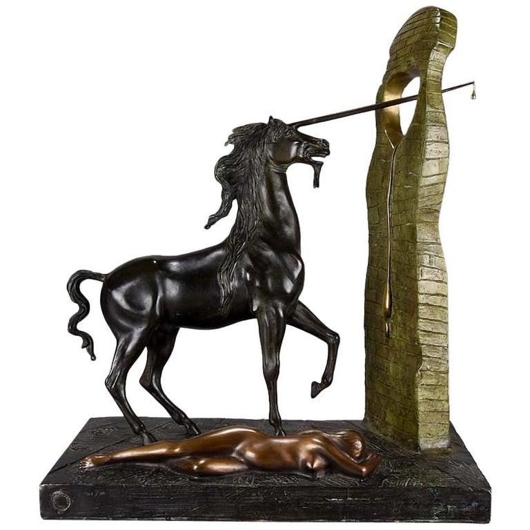 """Limited Edition Bronze Limited Edition Bronze Group """"Unicorn"""" by Salvador Dali For Sale"""