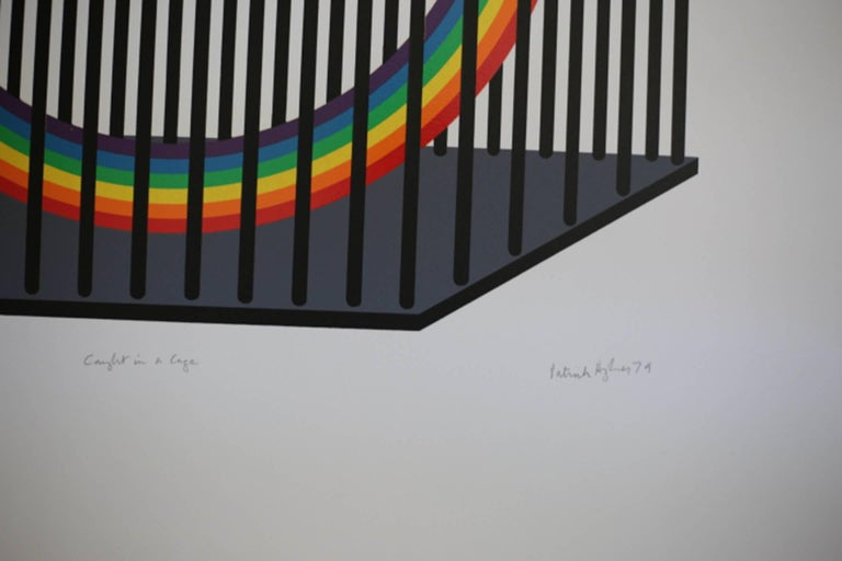 Artist: Patrick Hughes, British (1939) Title: Caught in a Cage Year: 1979 Medium: Silkscreen, signed and numbered in pencil #2/10 Image size: 19