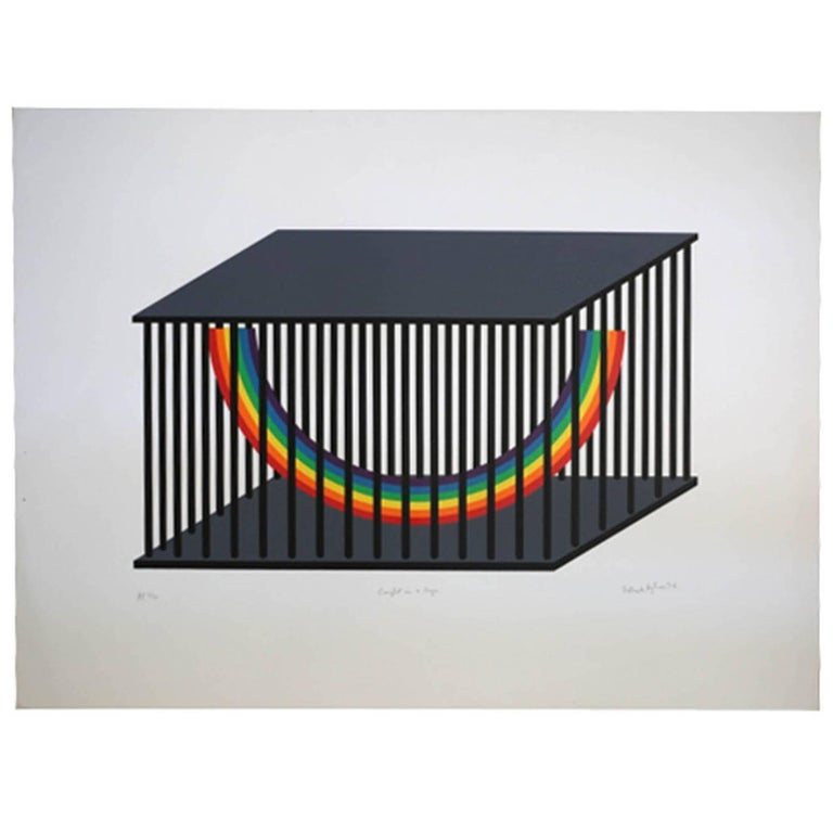 """Limited Edition """"Caught In a Cage"""" Signed by Patrick Hughes, 1979"""