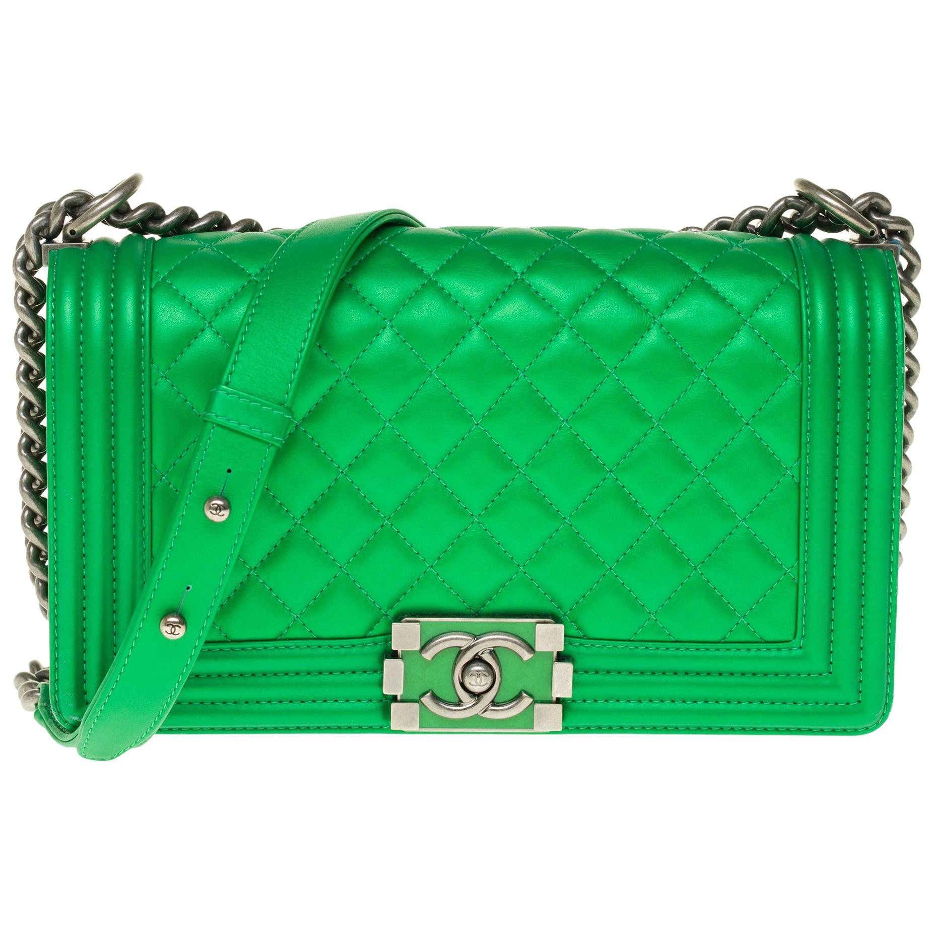 LIMITED EDITION Chanel Boy Old medium handbag in green quilted  leather, SHW !