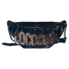 """Limited Edition Chanel """"CocoCuba"""" belt bag in blue sequins, silver hardware"""
