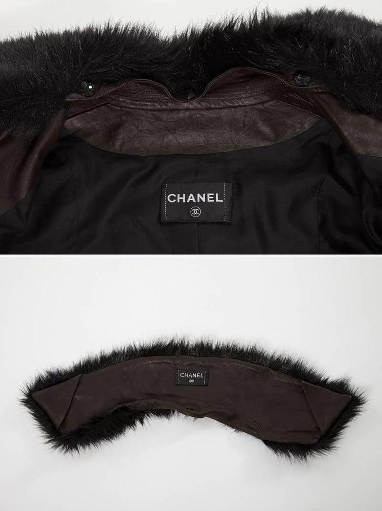 Chanel Runway Leather & Faux Fur Biker Coat, Fall-Winter 2010-2011 For Sale 4