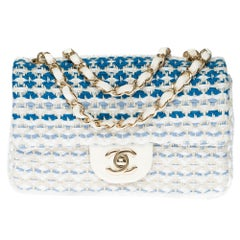 Limited Edition Chanel Mini Timeless Shoulder bag in White & BlueTweed, SHW