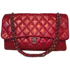 Limited Edition Chanel Red Quilted Lambskin XL Classic Flap Shoulder Bag