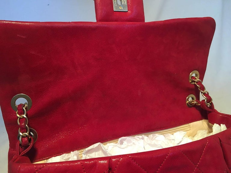 Limited Edition Chanel Shimmery Red Leather Pleated Front Classic Flap For Sale 6