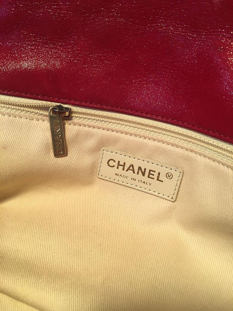 Limited Edition Chanel Shimmery Red Leather Pleated Front Classic Flap For Sale 7