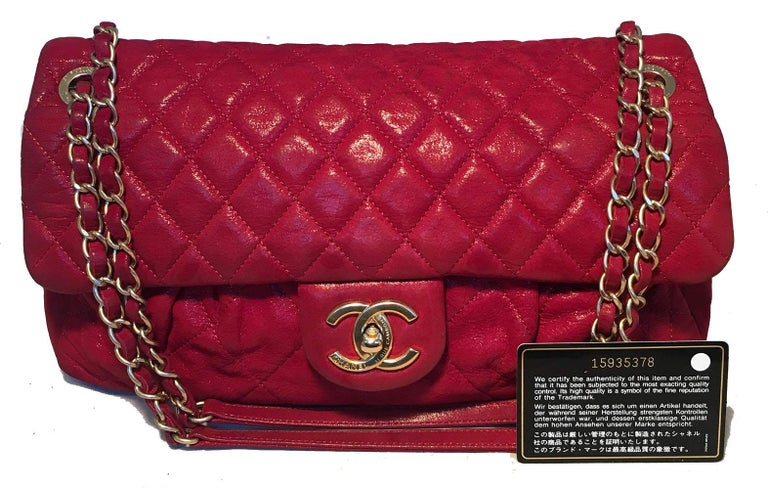 Limited Edition Chanel Shimmery Red Leather Pleated Front Classic Flap For Sale 10