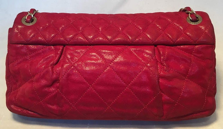 Women's Limited Edition Chanel Shimmery Red Leather Pleated Front Classic Flap For Sale