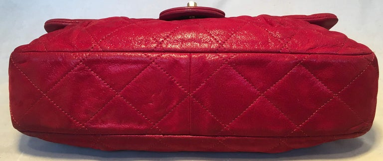 Limited Edition Chanel Shimmery Red Leather Pleated Front Classic Flap For Sale 1