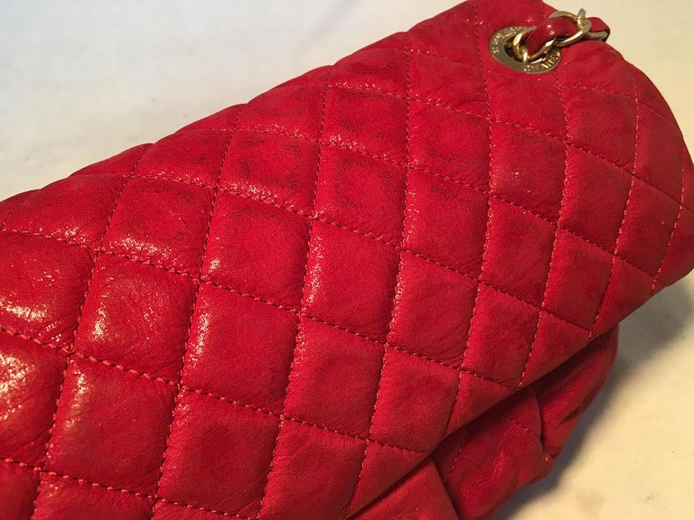 Limited Edition Chanel Shimmery Red Leather Pleated Front Classic Flap For Sale 2