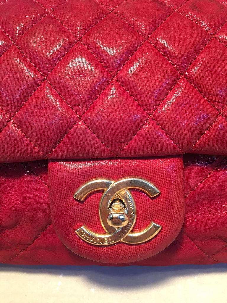 Limited Edition Chanel Shimmery Red Leather Pleated Front Classic Flap For Sale 3