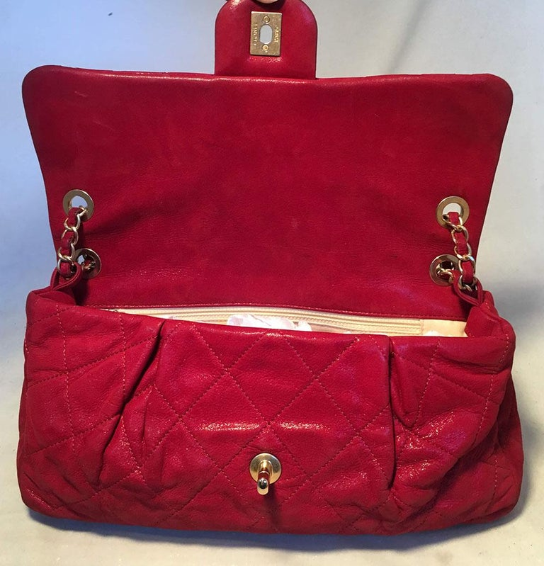 Limited Edition Chanel Shimmery Red Leather Pleated Front Classic Flap For Sale 4