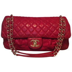 Limited Edition Chanel Shimmery Red Leather Pleated Front Classic Flap