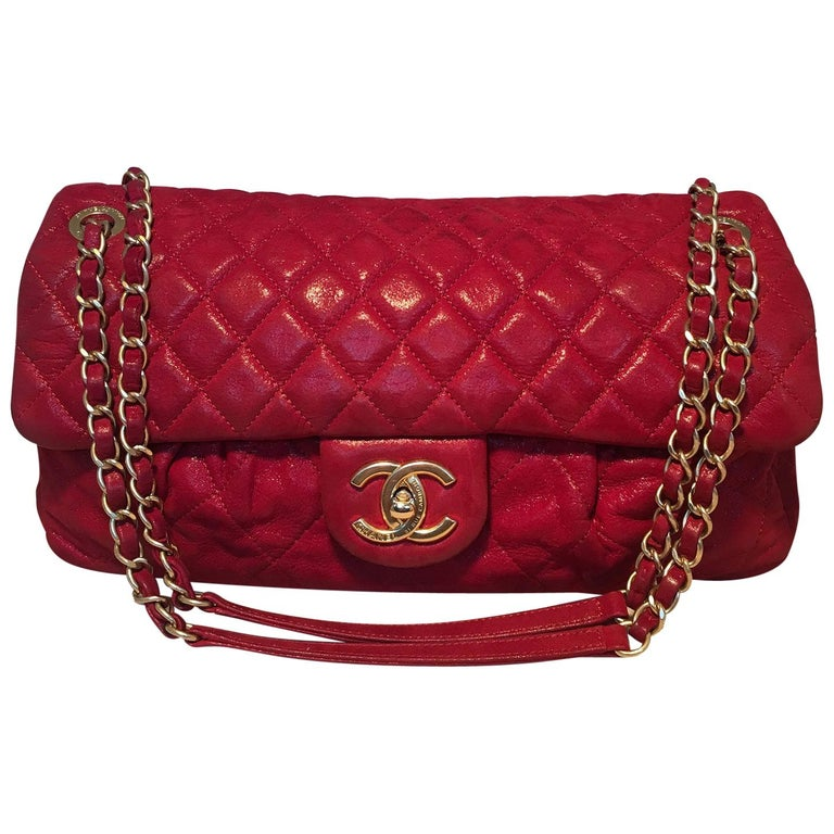 Limited Edition Chanel Shimmery Red Leather Pleated Front Classic Flap For Sale