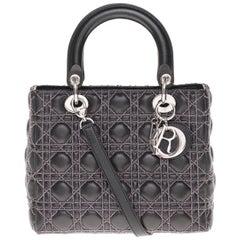Limited Edition-Christian Dior Lady Dior MM handbag in black cannage leather