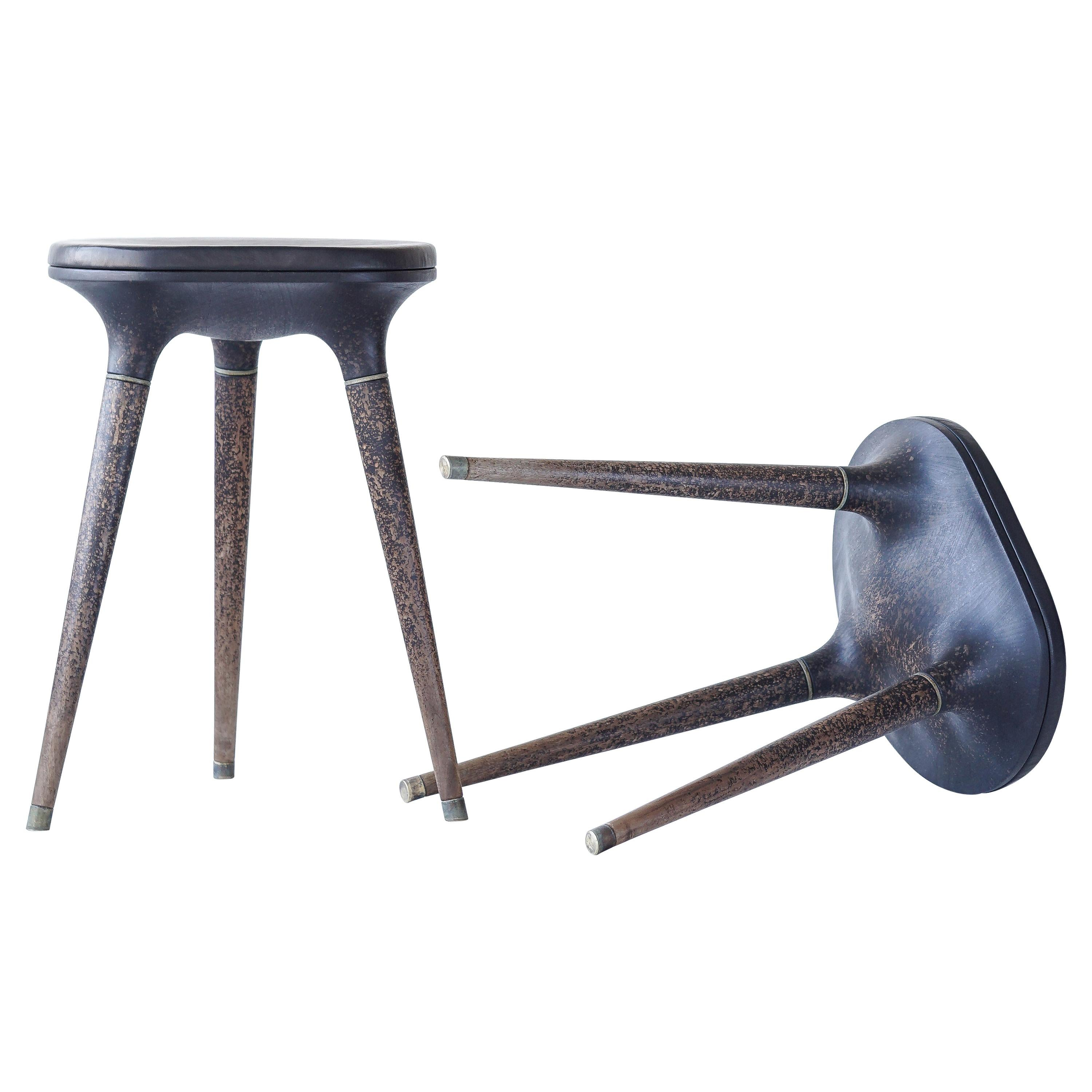 Limited Edition Contemporary Stool in Carved Walnut, Brass and Leather
