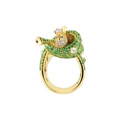 Limited Edition Crowned Magpie Cocktails Ring in Tsavorite, Moonstone & Diamonds