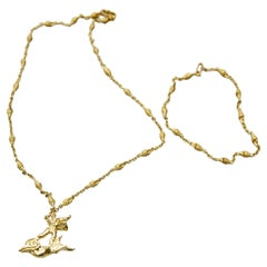 Limited Edition Dalí Gold Necklace and Bracelet 'The Man and the Dolphin'