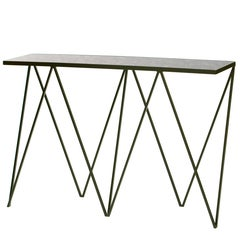 Limited Edition Deep Green Giraffe Console Table with Granite Top