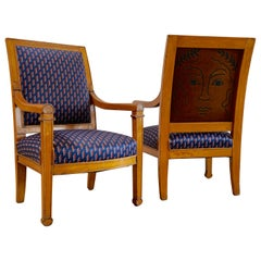 Embroidery by RF. Alvarez on Pair of Louis Philippe Armchairs, Navy and Bronze