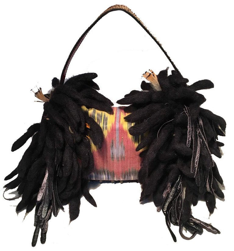 Black Limited Edition Fendi for Neiman Marcus Dreadlock Bird Baguette 33 of 44 Made For Sale
