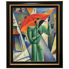 "Limited Edition Georgy Kurasov Canvas Painting ""Umbrellas of Saint Petersburg"""