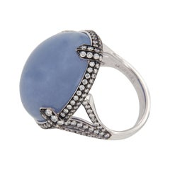 Limited Edition Goshwara Blue Chalcedony & Diamond 18k White Gold Cocktail Ring