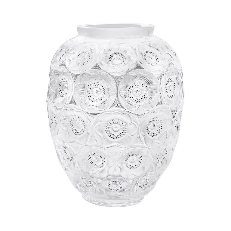For Sale: Clear Limited Edition Grand Anemones Vase in Crystal Glass by Lalique
