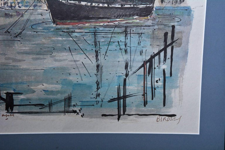 The subject of the framed and matted limited edition (650 copies) graphic print is the USS Constitution painted by Alfred Birdsey of Bermuda. It is in full color and printed on Mayfair Ripple paper. The frame is black with gold lined and the mat is