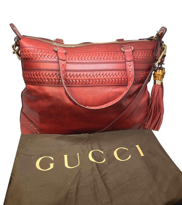 Limited Edition Gucci Green Carpet Challenge Red Leather Shoulder Tote Bag, 2005. In the early 2000's, Gucci partnered with