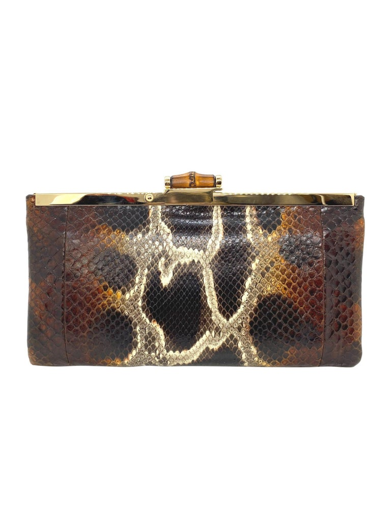 Black Limited Edition Gucci Tom Ford Python Minaudière Runway Frame Bag For Sale