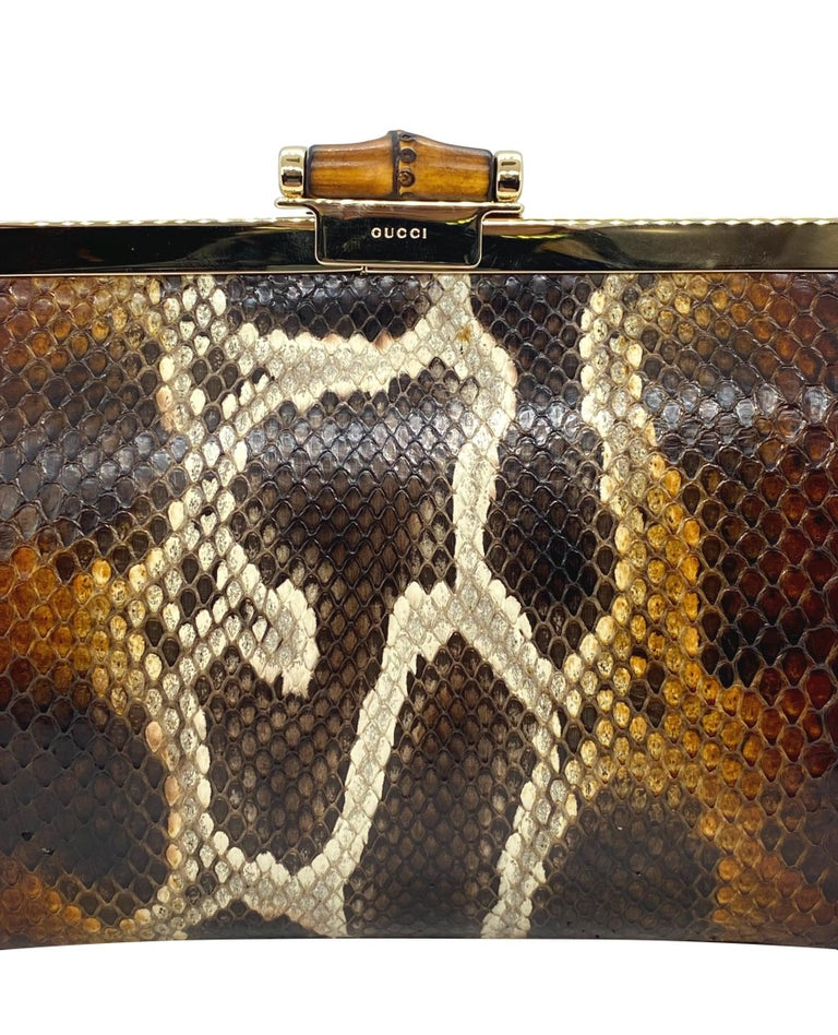 Limited Edition Gucci Tom Ford Python Minaudière Runway Frame Bag For Sale 2