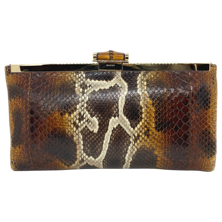 Limited Edition Gucci Tom Ford Python Minaudière Runway Frame Bag For Sale