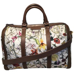 Limited Edition Gucci Vintage Web Floral Canvas Boston Bag