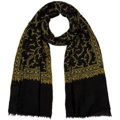 Limited Edition Hand Embroidered Black & Yellow Cashmere Scarf - Brand New