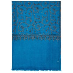 Limited Edition Hand Embroidered Cashmere Scarf in Blue Made in Kashmir - Gift